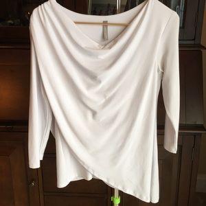 Last Tango White 3/4 Sleeve Cowl Draped Tunic Top